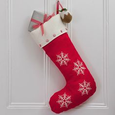 Large Red Linen Christmas Stocking with Snowflake Design & Button Detailing