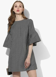 Buy MIAMINX Black Coloured Yarn Dyed Shift Dress for Women Online India, Best  Prices,