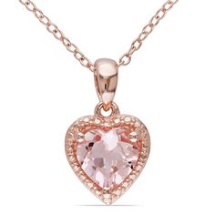 Show a little love with this pretty Miadora morganite necklace. This design features a heart-shaped pendant on an 18-inch cable chain and is set in pink-plated silver for a unique presentation that will add unique charm to any outfit in your closet.