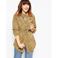 MEGAN X ASOS TOPS Suede Belted Shirt (£40) ❤ liked on Polyvore featuring asos, suede and green