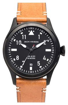 Jack Mason Brand 'Aviation' Leather Strap Watch, 42mm