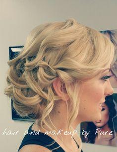 Bridal updo makeup and hair by pure em 2019 Prom Hair Medium, Medium Curls, Medium Hair Styles, Curly Hair Styles, Bridal Updo, Wedding Updo, Ponytail Hairstyles, Updos, Prom Hair Updo