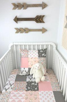 Baby Blanket, Girl Nursery Decor, Minky Blanket, Woodland Nursery, Blush Pink, Coral, Gray, Grey, Deer, Buck, Heads, Feathers, Fawn, Floral