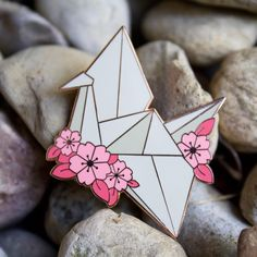 Sakura Origami Paper Crane Hard Enamel Pin by ZandraIllustration on Etsy Paper Crane Tattoo, Origami Paper Crane, Paper Cranes, Origami Owl, Hard Enamel Pin, Cool Pins, Metal Pins, Pin And Patches, Pin Badges