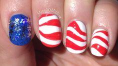4th of July - Waving Flag Nail Art