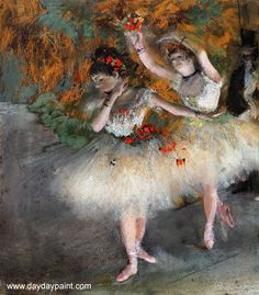 Ballet Oil Paintings Two Dancers Entering the Stage by Edgar Degas
