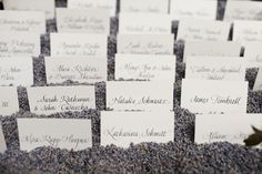 escort cards with dried lavender