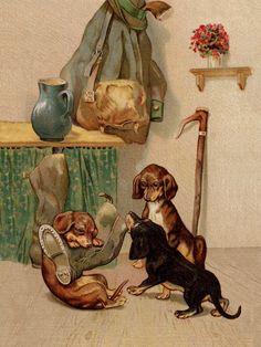 Naughty Dachshund Dogs and Wellington Boot 8 x 10 Dog Print Ready to Frame Vintage Dachshund, Mini Dachshund, Vintage Modern, Vintage Art, Dapple Dachshund, Daschund, Terrier, Shelter, Dog Art