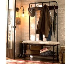 Vintage-look coat rack/bench for the entryway.