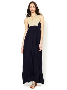 Jersey Embellished Bib Maxi Dress by T-Bags Los Angeles at Gilt