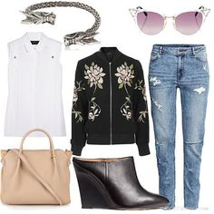 | Women's Outfit | FLORAL EMBROIDERED BOMBER JACKET + boy friend jeans + white sleveless blouse + pale pink bag + black wedge shoes + silver bracelet + sunglasses