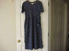 Lovely Vintage Blue Flower Long Dress Ladies Size by fleurzart