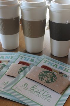 Starbucks/coffee gift card printables. Great for teacher appreciation gifts.