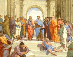 'La escuela de Atenas', de Rafael. En el centro están Platón (señalando arriba) y Artistóteles (señalando abajo). En la escalera está Diógenes (de azul) y abajo, sentado, Heráclito