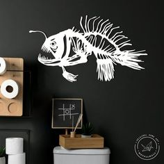 """Metal sing 'sceleton of Angler fish' is a modern and stylish wall art piece. It is perfect for decorating your home, or like an original gift!  *****FREE EXPRESS Shipping in USA & Europe! (DHL max. 3-5 days)***** *****Attention to buyers from Canada and Europe. The price does not include customs duties and import taxes. Buyers are responsible for any customs and import taxes that may apply*****• Height 35 cm x Horizontal width 62 cm or 14"""" x 24""""• Height 44 cm x Horizontal width 79 cm or 17"""" Metal Walls, Metal Wall Art, Chibi, Art Mural, Outdoor Walls, Large Wall Art, Metal Signs, Oeuvre D'art, Home Art"""
