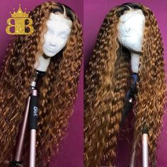 Riisca Lace Front Human Hair Wigs With Baby Hair Wavy Pre Plucked Ombre Color Brazilian Remy Hair Wigs For Women Bleach Knots,Human Hair lace wigs, Curly Lace Front Wigs, Curly Wigs, Long Curly Hair, Curly Hair Styles, Natural Hair Styles, Curly Bob, Front Lace, Curly Braids, Deep Curly