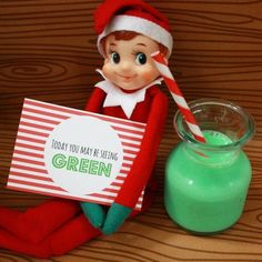 "Elf on the Shelf idea: instead maybe ""today can you find green things and/or wear green?"" For a preschooler learning colors."