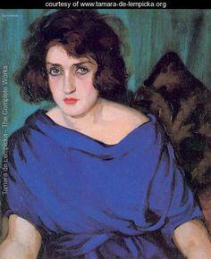 Portrait of a Young Lady in a Blue Dress, 1922 - Tamara de Lempicka - www.tamara-de-lempicka.org