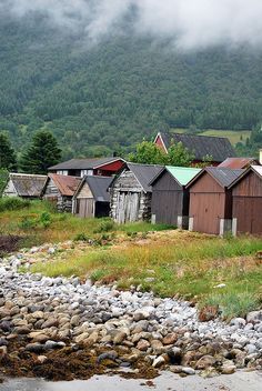 row of boathouses or sheds, Naust, Norway