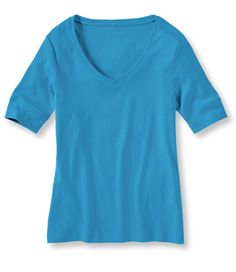 Double L Rib-Knit Tee Vneck Elbow Sleeve: Tees and Knit Tops | Free Shipping at L.L.Bean