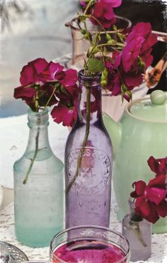 vintage bottles for wedding flower styling