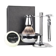 6 Piece Shaving Gift Set  Includes Badger Hair Shaving BrushDouble Edge Safety RazorChrome StandBowlShaving Soap2 Replacement Blades -- Visit the image link more details.