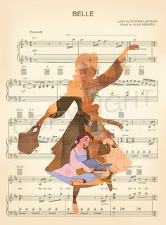 Beauty and the Beast Belle Reading Basket Silhouette Sheet