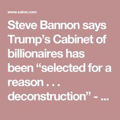 "Steve Bannon says Trump's Cabinet of billionaires has been ""selected for a reason . . . deconstruction"" - Salon.com"