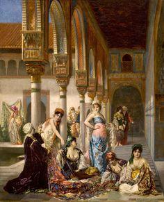 Édouard Frédéric Richter (1844-1913) Le marchand d'étoffes Huile sur toile signée « richter paris » et datée 1876 en bas à droite 100 x 80 cm  - Galerie Ary Jan
