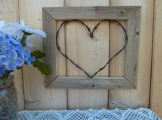 Rustic Barbed Wire Heart in Wood Frame Barb Wire Crafts, Wire Hanger Crafts, Wood Crafts, Barbed Wire Decor, Old West Decor, Fall Crafts, Diy And Crafts, Crafts For Seniors, D House