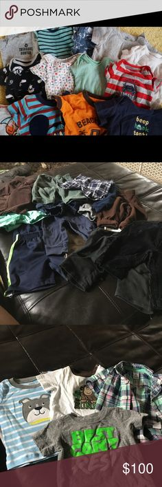 Huge amount of clothes for sale 69 clothes for boys shorts, pants, shirts, onesies all are good to brand new condition no stains etc sizes 3 months to 6 months mostly carters brand need gone soon before military moves us over seas ❤️ Carter's Matching Sets