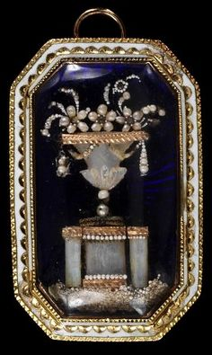 Place of origin:    France (possibly, made)  Date:    1775-1800 (made)  Artist/Maker:    Unknown (production)  Materials and Techniques:    Enamelled gold, seed pearls and mother of pearl under glass