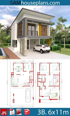 House Plans with 3 Bedrooms - Sam House Plans House Plans with 3 Bedrooms. This villa is modeling by SAM-ARCHITECT With 2 stories level. It's has 3 bedrooms.Simple Home Design Small Modern House Plans, Narrow House Plans, House Layout Plans, Duplex House Plans, Dream House Plans, House Layouts, House Plans 2 Storey, 2 Storey House Design, Bungalow House Design
