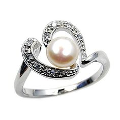 Eternal Love' Sterling Silver Simulated Pearl, CZ Bridal Heart Ring, Size 8