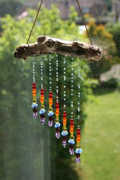 Driftwood and glass rainbow sun catcher ~ use chakra colored beads ~cks