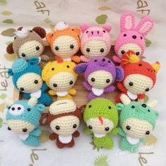 The 12 Animals of the Chinese Zodiac,amigurumi zodiac,mini crochet doll,kawaii crochet,keychain,bag charm,fetish,horoscope