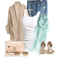 Ahhhhhh that mint scarf jumped out at me, along with that fabulous Rebecca Minkoff bag. This outfit just flows. Summery and feminine all the way around.nice look. Casual Outfits, Cute Outfits, Fashion Outfits, Womens Fashion, Work Outfits, Fashion Ideas, Looks Style, Style Me, Spring Summer Fashion