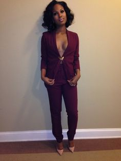 burgundy suit with nude pumps