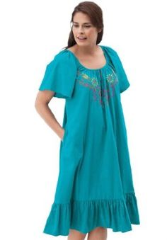 Only Necessities Plus Size Gown, Short Lounger (Aquamarine,4X) Only Necessities. $19.99