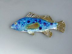 Sea Bass Ceramic fish art wall hanging