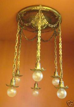 Vintage Lighting Antique 1910 Brass Shower Pan Ceiling Light Large 20 Wide | eBay