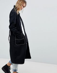 CHEAP MONDAY SUMMER TRENCH WITH CONTRAST STITCHING - BLACK. #cheapmonday #