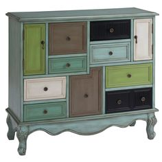 Coast to Coast 67489 Nine Drawer Two Door Cabinet in Leslie Multicolor