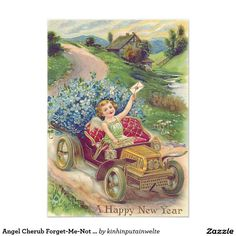 Angel Cherub Forget-Me-Not Car 5x7 Paper Invitation Card