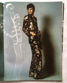 1973 - Yves Saint Laurent ensemble sketch & Susan Moncur in Yves Saint Laurent by André Carrara for Harper's Bazaar Italia