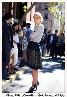 Knee-length pleated skirts are always a good idea. This pic also reminds me to dig out my cable knit jumpers.