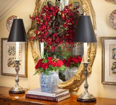 Nell Hill's vignette - things to do around a gold mirror