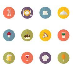 食べ物や飲みものをモチーフにしたベクターアイコンセット。丸型ベースのシンプルなデザイン。
