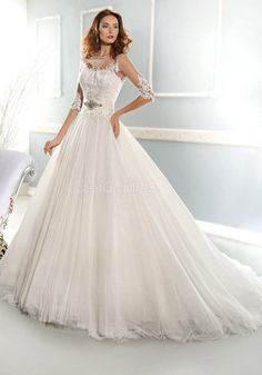 Fashionable Princess Sheer Illusion Neckline Wedding Dress With 3 Per 4 Lace Sleeves Princess Wedding Dresses, Best Wedding Dresses, Designer Wedding Dresses, Illusion Neckline Wedding Dress, Lace Sleeves, One Shoulder Wedding Dress, Bride, Beauty, Tops