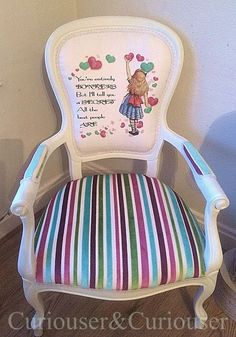 Alice in Wonderland Candy Stripe Chair Bespoke Alice In Wonderland Furniture at www.facebook.com/curiouser1 Decoupage Furniture, Repurposed Furniture, Painted Furniture, Diy Furniture, Woodworking Furniture, Furniture Plans, Alice In Wonderland Room, Alice In Wonderland Costume, Disney Home Decor
